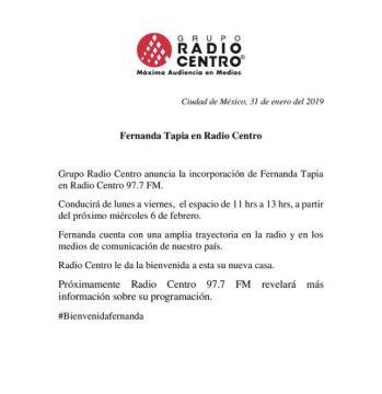 Grupo Radio Centro da la bienvenida a Fernanda Tapia