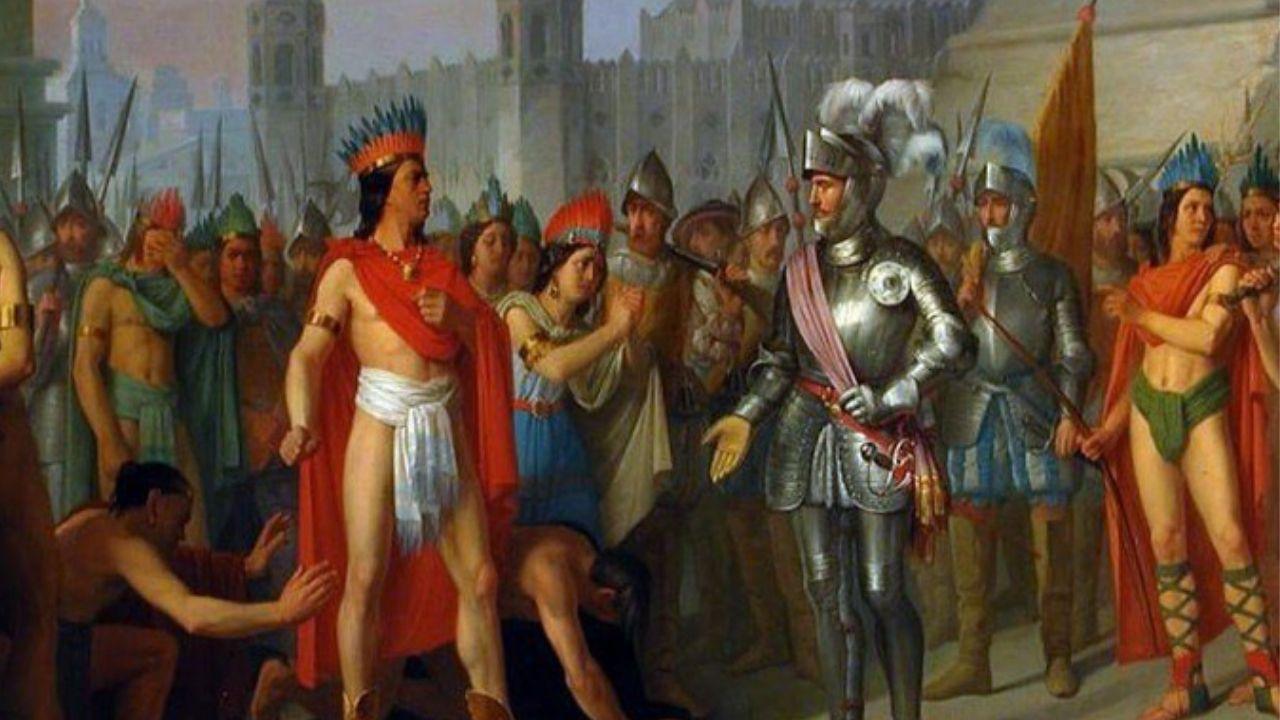 LA ENTREGA DE MOCTEZUMA Y EL IMPERIO AZTECA A LOS ESPAÑOLES