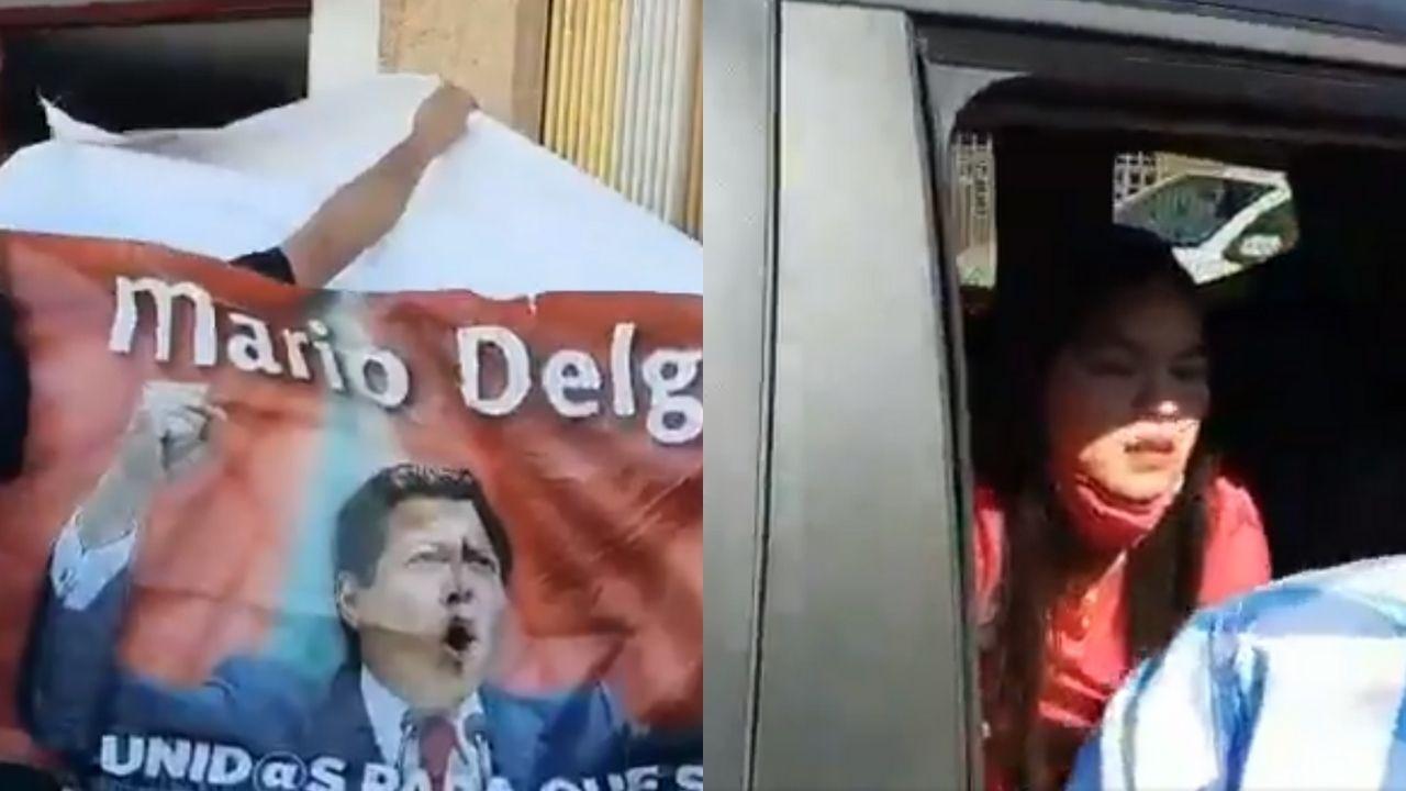 Reciben a huevazos a Mario Delgado y precandidata en Colima